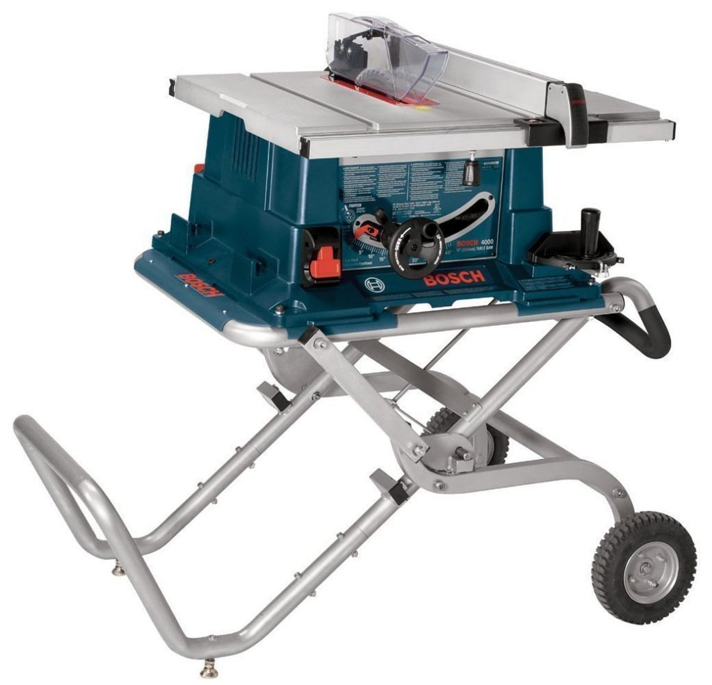 Bosch 4000-09 Worksite 15 Amp 10-Inch Benchtop Table Saw with Gravity Rise Wheeled Stand